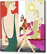 Two Woman Drinking Wine Acrylic Print