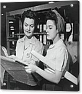 Two Women In Workshop Looking At Acrylic Print