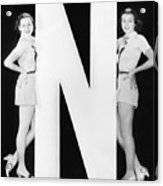 Two Women With Huge Letter N Acrylic Print