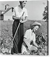 Two Women Working On Field, B&w Acrylic Print