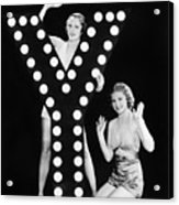 Two Young Women Posing With The Letter Y Acrylic Print