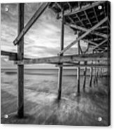 Uner The Pier In Black And White Acrylic Print