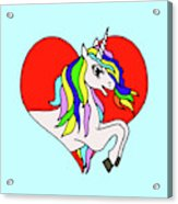 Unicorn In The Heart On Baby Blue Kids Room Decor Acrylic Print