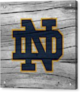 University Of Notre Dame Fighting Irish Logo On Rustic Wood Acrylic Print
