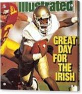University Of Notre Dame Qb Tony Rice Sports Illustrated Cover Acrylic Print