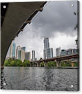 Urban Skyline Of Austin Buildings From Under Bridge With Stormy  Acrylic Print