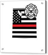 Utah Firefighter Shield Thin Red Line Flag Acrylic Print