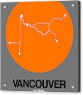 Vancouver Orange Subway Map Acrylic Print