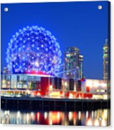 Vancouver Science World At Night Acrylic Print