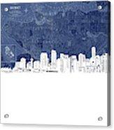 Vancouver Skyline Map Blue Acrylic Print