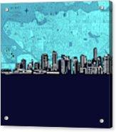 Vancouver Skyline Map Turquoise Acrylic Print