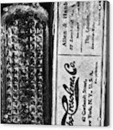 Vapo-cresolene Vaporizer Liquid Poison Bottle Black And White Acrylic Print