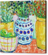 Vases 7 - Yellow White Blue Yellow Acrylic Print