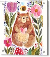 Vector Illustration Adorable Bear In Acrylic Print