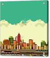 Vector Illustration Big City Panoramic Acrylic Print