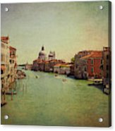 Venice, Italy - Grand Canal And The Baroque Domes Of Sai Acrylic Print
