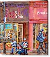 Verdun Montreal Storefront Painting Jessie Et Cie Beaute Candy Nail Shop Hockey Artist C Spandau Art Acrylic Print