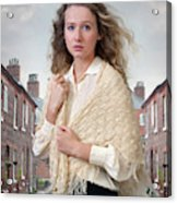 Victorian Woman On A Cobbled Terraced Street Acrylic Print