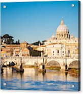 View At Tiber And St. Peters Cathedral Acrylic Print