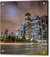 View Of Chicago Skyscrappers With Busy Street In The Foreground Acrylic Print