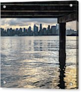View Of Downtown Seattle At Sunset From Under A Pier Acrylic Print