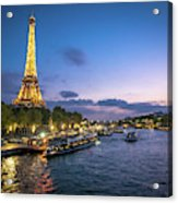 View Of The Eiffel Tower During Sunset From The Scene River Acrylic Print