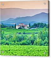 Vineyard, Villa And Rolling Hills In Acrylic Print