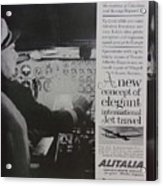 Vintage Alitalia Airline Advertisement Acrylic Print
