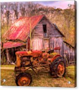 Vintage At The Farm Watercolors Painting Acrylic Print