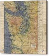 Vintage Auto Map Western Washington Olympic Peninsula Hand Painted Acrylic Print