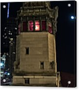 Vintage Chicago Bridge Tower At Night Acrylic Print