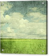 Vintage Image Of Green Field And Blue Acrylic Print