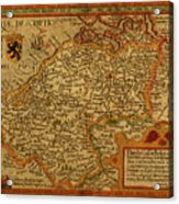 Vintage Map Of Belgium And Flanders Acrylic Print