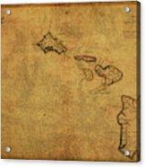 Vintage Map Of Hawaii 1837 Acrylic Print