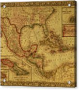 Vintage Map Of Mexico Acrylic Print