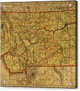 Vintage Map Of Montana Acrylic Print