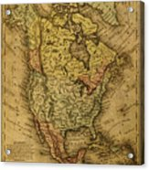 Vintage Map Of North America 1858 Acrylic Print