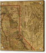 Vintage Map Of Northern California Acrylic Print