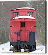 Vintage Red Caboose In Winter Acrylic Print
