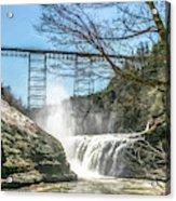 Vintage Train Trestle With Waterfalls Acrylic Print