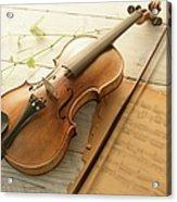 Violin And Music Sheet Acrylic Print