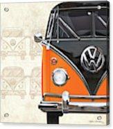 Volkswagen Type 2 - Black And Orange Volkswagen T1 Samba Bus Over Vintage Sketch  Acrylic Print