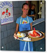 Waitress Serving Lobster  Acrylic Print