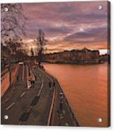 Walking Along The Seine At Sunset Acrylic Print