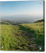 Walking Downhill Large Trail With Silicon Valley At The End Acrylic Print