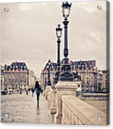 Walking In Pont Neuf, Paris, France Acrylic Print