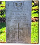 War Grave Of Flying Officer F A Sullivan  Acrylic Print
