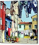 Washday  In  Burano Acrylic Print