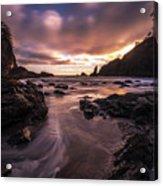 Washington Coast Dusk Tide Motion Acrylic Print