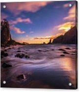 Washington Coast Sunset Sands Acrylic Print
